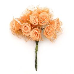 EVA Foam and organza Rose bouquet 20x90 mm with wire stems, orange - 10 pieces