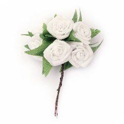 Buchet trandafir cauciuc 25x90 mm frunze alb -6 bucăți
