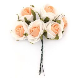 EVA Foam Rose bouquet for art decoration 25x90 mm with wire stems, white orange - 6 pieces