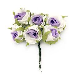 Buchet trandafir 25x90 mm frunze de cauciuc alb violet -6 bucăți