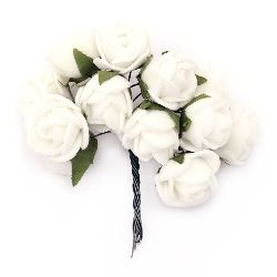 EVA Foam Rose bouquet 20x85 mm with wire stems, white - 12 pieces