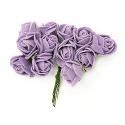 Rose bouquet from EVA foam and green wire stems for embellishment of tiaras, hairpins 20x85 mm  purple -12 pieces