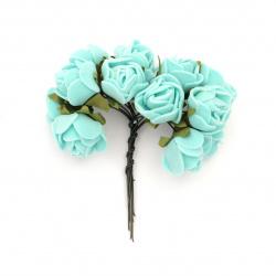 Buchet trandafir 20x80 mm cauciuc culoare turcoaz -12 bucăți