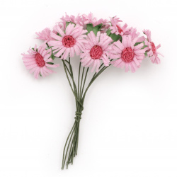 Bouquet of pink artificial flowers for embellishment of tiaras, hairpins 20x90 mm -10 pieces