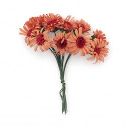 Buchet de flori 20x90 mm culoare portocaliu și roșu -10 bucăți