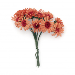Цвете букет 20x90 мм цвят оранжево и червено -10 броя