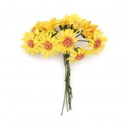Λουλούδια κίτρινο με πορτοκαλί 20x90 mm από ύφασμα -10 τεμάχια ανά ματσάκι
