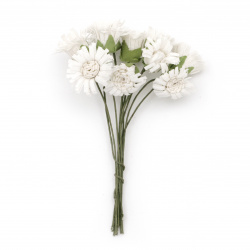 Bouquet of white  artificial flowers for various decoration 20x90 mm - 10 pieces
