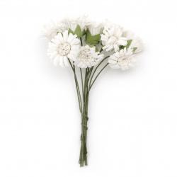 Buchet de flori albe 20x90 mm alb -10 bucăți