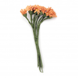 Daisy bouquet artificial flowers for handmade home decoration 12x90 mm orange - 10 pieces