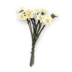 Daisy bouquet for decoration of frames, albums, boxes 12x90 mm light yellow - 10 pieces