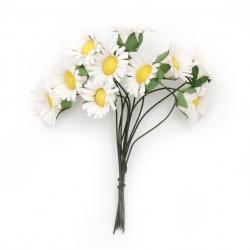 Λουλούδια λευκά με κίτρινο 20x90 mm από ύφασμα  -10 τεμάχια ανά ματσάκι