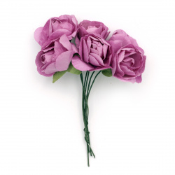 Bouquet of paper Roses with wire stems for decoration 35 mm color purple - 6 pieces
