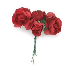 Роза букет хартия и тел 35 мм цвят тъмно червен -6 броя