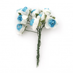 Bouquet of paper Roses with wire stems for decoration 20x80 mm color blue with white - 10 pieces