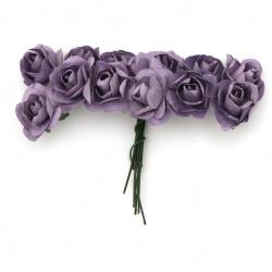 Роза букет хартия и тел 20x80 мм цвят лилав -12 броя