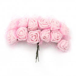 EVA Foam and organza Rose bouquet 25x80 mm with wire stems, color light pink - 12 pieces