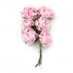 Τριαντάφυλλα ροζ 130x35 mm με φύλλα από ύφασμα -6 τεμάχια ανά ματσάκι