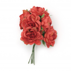 Rose bouquet textile 100x35 mm curly color red - 6 pieces