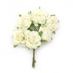 Τριαντάφυλλα σαμπανιζέ 130x35 mm με φύλλα από ύφασμα -6 τεμάχια ανά ματσάκι