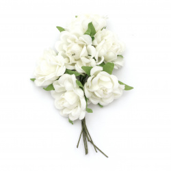 Buchet de trandafir textil 100x35 mm culoare cret alb -6 bucăți