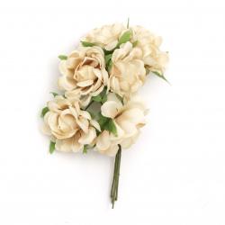Τριαντάφυλλα μπεζ 130x35 mm με φύλλα από ύφασμα -6 τεμάχια ανά ματσάκι