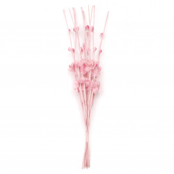 Bouquet twigs flowers and buds organza 210 mm pink -10 pieces