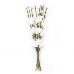 Букет клонки цветчета и пъпки гума 210 мм цвят бял -10 броя