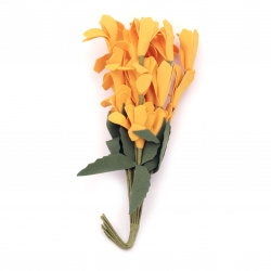 Artificial foam flower bouquet 20x30x190 mm rubber and wire, color yellow - 10 pieces