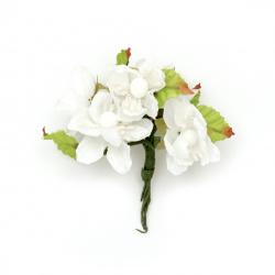 Цвете пролет букет текстил тичинка 40x90 мм цвят бял -6 броя