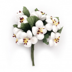 Flower spring bouquet from textile for embellishment of tiaras, hairpins 30x100 mm color white - 10 pieces