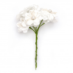 Textile bouquet  Flowers with pearl 40x140 mm color white - 6 pieces