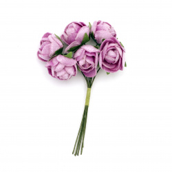 Buchet trandafir textil 20x100 mm culoare violet -6 bucăți
