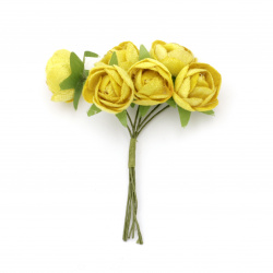 Vivid rose bouquet from textile for embellishment of notebooks, frames, albums 20x100 mm color yellow - 6 pieces