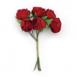 Роза букет текстил 20x100 мм цвят червен -6 броя