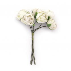 Роза букет текстил 20x100 мм цвят крем -6 броя