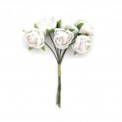 Textile bouquet roses suitable for wedding decoration 20x100 mm color white - 6 pieces