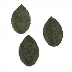 Decorative Fabric Leaf 35x60 mm dark green -10 pieces