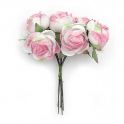 Роза букет текстил 30x100 мм цвят розово и бяло -6 броя