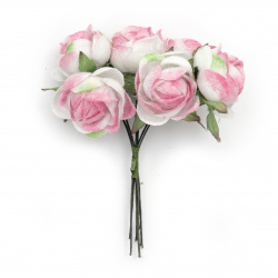 Buchet de trandafiri 30x100 mm roz și alb -6 bucăți