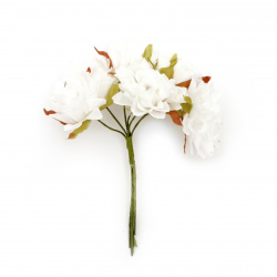 Carnation flower  bouquet 35x100 mm color white - 6 pieces