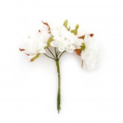 Buchet de flori garoafe 35x100 mm culoare alb -6 bucăți