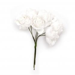Роза букет текстил и дантела 35x110 мм къдрава бяла -6 броя