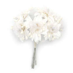 Textile and organza bouquet Flowers for wedding table decoration, albums 45x100 mm color white - 6 pieces