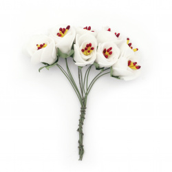 Bouquet of rubber flowers 20x100 mm stamens color white - 10 pieces