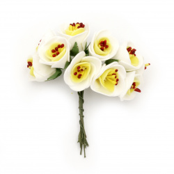 Bouquet of rubber flowers 20x100 mm  stamens color white and yellow -10 pieces