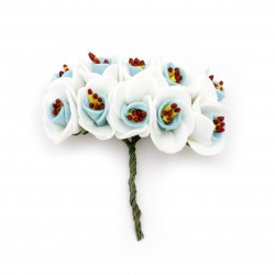 Bouquet of rubber flowers 20x100 mm stamens color white and blue - 10 pieces