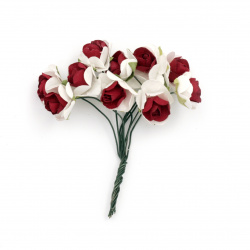 Rose bouquet of paper and wire for embellishment of tiaras, hairpins 15x80 mm white with red - 10 pieces