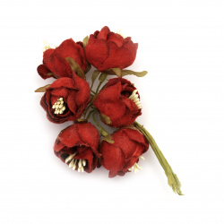 Artificial Rose bouquet from textile 30x130 mm color red - 6 pieces