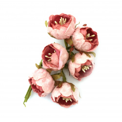 Adorable Rose bouquet textile 30x130 mm color pink -6 pieces